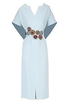 Ice Blue Embroidered Drape Knee Length Dress