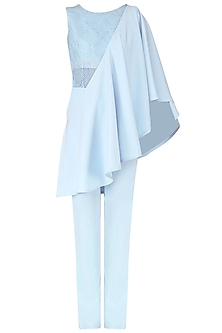 Ice Blue Embroidered Drape Top and Trouser Set