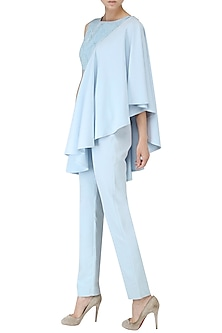 Ice Blue Embroidered Drape Top and Trouser Set by Suman Nathwani