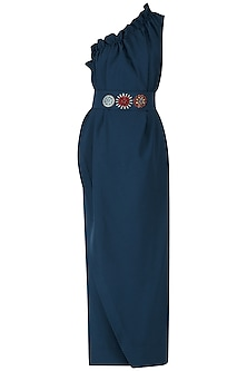 Navy Blue Embroidered Frill Maxi Dress by Suman Nathwani