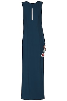 Navy Blue Embroidered Side Slit Maxi Dress