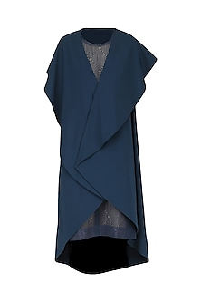Navy Blue Embroidered Drape Dress