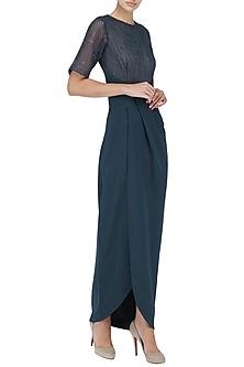 Navy Blue Embroidered Drape Maxi Dress by Suman Nathwani