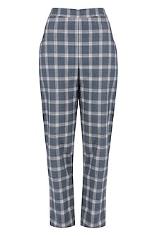 Blue and White Checked Trousers