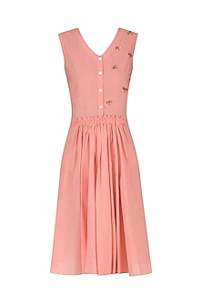 Rose Pink Knee Length Embroidered Dress