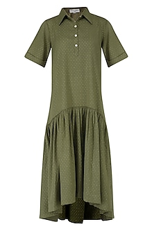 Olive Green Asymmetrical Shirt Dress
