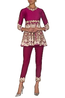 Maroon Embroidered Peplum Top With Pants by Sonali Gupta