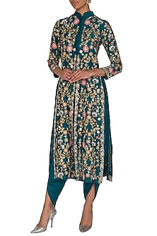 Bottle Green Embroidered Long Jacket With Dhoti Pants by Sonali Gupta