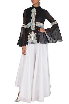 Black Embroidered Peplum Top With Sharara Pants by Sonali Gupta