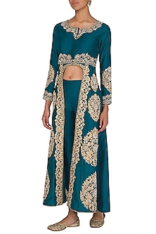 Green Embroidered Long Jacket With Pants by Sonali Gupta