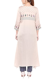Ivory Printed A-Line Kurta With Cigarette Pants by SOUS