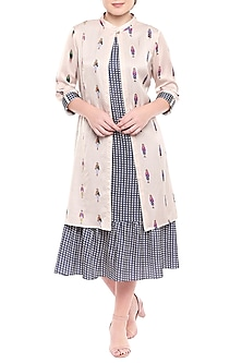 Blue Printed Dress With Ivory Jacket by SOUS