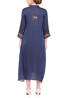 Navy Blue Printed Pintuck Dress by SOUS
