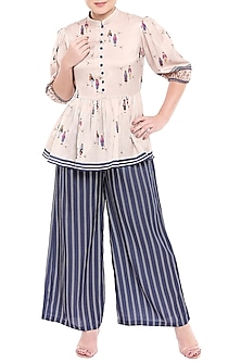 Ivory & Blue Printed Peplum Top With Palazzo Pants by SOUS