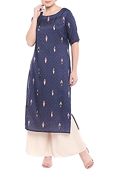 Navy Blue Printed Kurta With Ivory Pants by SOUS
