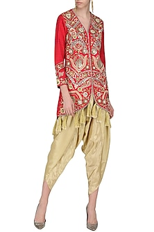 Red Embroidered Jacket with Gold Dhoti Pants by Sonali Gupta