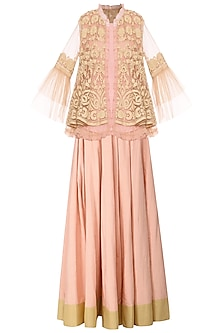 Peach Embroidered Peplum Jacket with Crop Top and Lehenga Skirt by Sonali Gupta