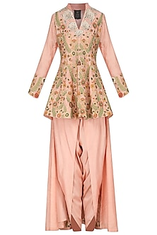 Peach Embroidered Peplum Trail Jacket with Dhoti Pants