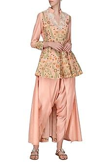Peach Embroidered Peplum Trail Jacket with Dhoti Pants by Sonali Gupta