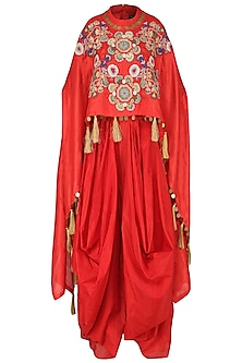 Red High-Low Embroidered Cape with Drape Dhoti Pants