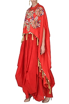 Red High-Low Embroidered Cape with Drape Dhoti Pants by Sonali Gupta