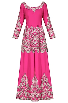 Hot Pink Embroidered Kurta with Sharara Pants Set by Sonali Gupta