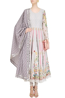 Off White Thread Embroidered Anarkali Set by Sonali Gupta
