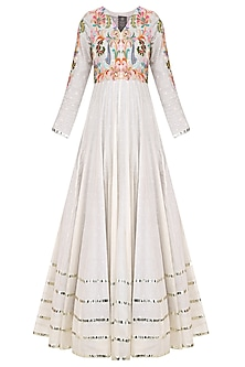Off White Floral Embroidered Kalidaar Anarkali Set by Sonali Gupta