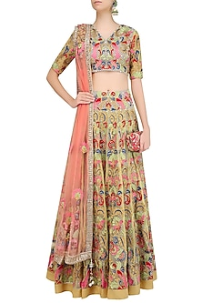Yellow Floral Embroidered Lehenga Set by Sonali Gupta