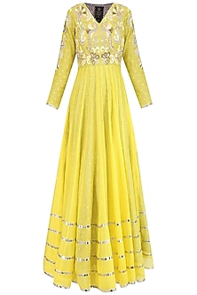 Yellow Dabka Embroidered Pleated Anarkali Set by Sonali Gupta