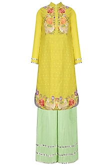 Yellow Floral Embroidered Tunic with Palazzo Pants by Sonali Gupta