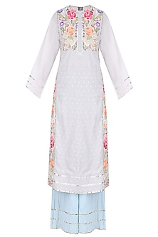 Off White Floral Embroidered Tunic with Palazzo Pants by Sonali Gupta
