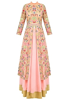 Pink Floral Embroidered Jacket Style Kurta with Skirt