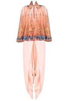 Pink Floral Embroidered Cape with Camisole and Dhoti Pants