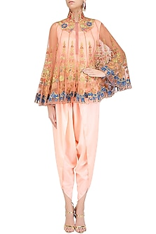 Pink Floral Embroidered Cape with Camisole and Dhoti Pants by Sonali Gupta