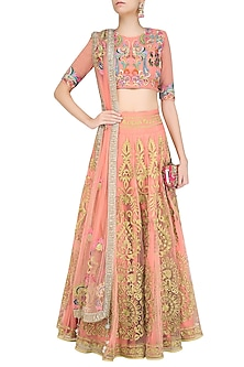 Pink Golden Zari Embroidered Lehenga Set by Sonali Gupta