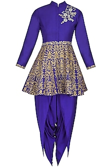 Blue floral dabka, pearls and sequins embroidered short kurta and dhoti pants set
