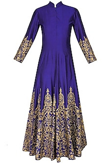 Blue and gold floral embroidered high collared flared anarkali set