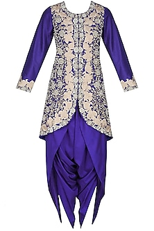 Blue floral pattern dabka, zari and pearl embroidered jacket and dhoti pants set