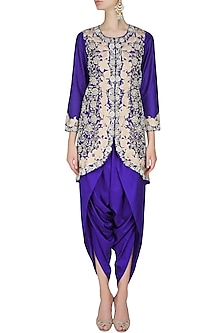 Blue floral pattern dabka, zari and pearl embroidered jacket and dhoti pants set by Sonali Gupta