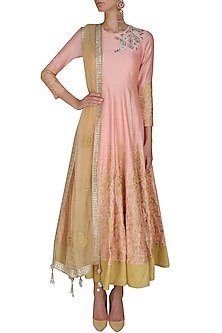 Peach and gold floral embroidered flared anarkali set by Sonali Gupta