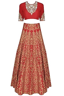 Red zari, pearls and sequins floral embroidered blouse and lehenga set by Sonali Gupta