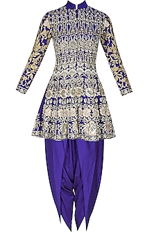 Blue floral pattern dabka, zari and pearl embroidered panelled jacket and dhoti pants set