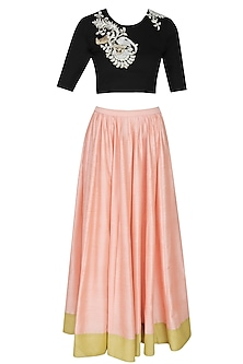 Black floral embroidered crop top and peach skirt set