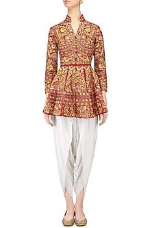 Red Jaal Work Peplum Top with White Dhoti Pants by Sonali Gupta