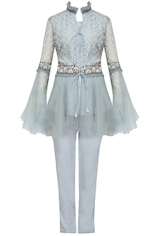 Blue Jaal Embroidered Peplum Jacket and Pants Set by Sonali Gupta