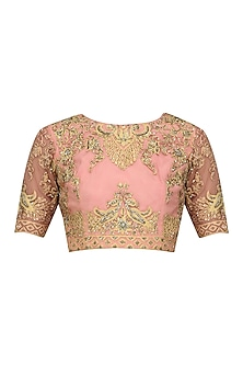 Peach and Gold Floral Zari Embroidered Blouse