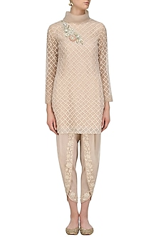 Beige Jaal Embroidered High Neck Tunic by Sonali Gupta