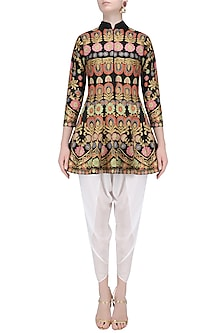 Black Aari Work Kurta with Off White Dhoti Pants by Sonali Gupta