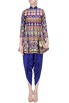 Royal Blue Aari Work Kurta with Matching Dhoti Pants by Sonali Gupta